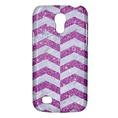 Chevron2 White Marble & Purple Glitter Galaxy S4 Mini