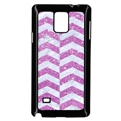 Chevron2 White Marble & Purple Glitter Samsung Galaxy Note 4 Case (black)
