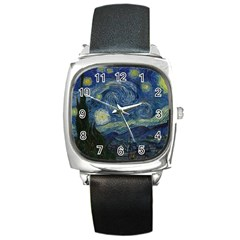 The Starry Night  Square Metal Watch