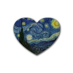 The Starry Night  Rubber Coaster (heart)  by Valentinaart