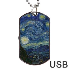 The Starry Night  Dog Tag Usb Flash (one Side) by Valentinaart