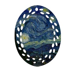 The Starry Night  Oval Filigree Ornament (two Sides) by Valentinaart