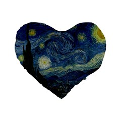 The Starry Night  Standard 16  Premium Heart Shape Cushions by Valentinaart