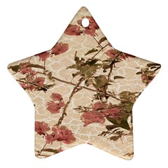 Textured Vintage Floral Design Ornament (star)