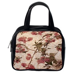 Textured Vintage Floral Design Classic Handbags (one Side)