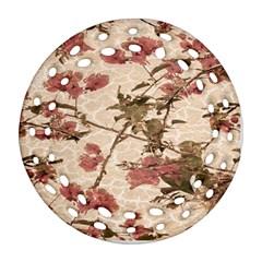 Textured Vintage Floral Design Ornament (round Filigree)