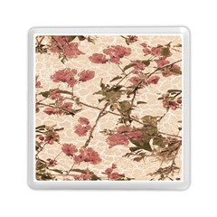 Textured Vintage Floral Design Memory Card Reader (square)