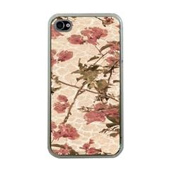 Textured Vintage Floral Design Apple Iphone 4 Case (clear)