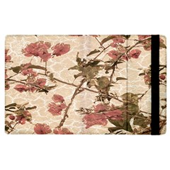 Textured Vintage Floral Design Apple Ipad 3/4 Flip Case by dflcprints