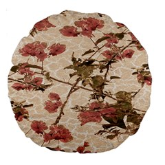 Textured Vintage Floral Design Large 18  Premium Round Cushions by dflcprints