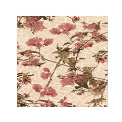Textured Vintage Floral Design Small Satin Scarf (square) by dflcprints