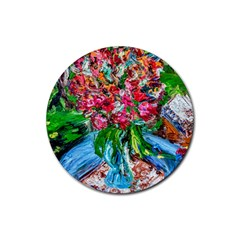 Paint, Flowers And Book Rubber Round Coaster (4 Pack)