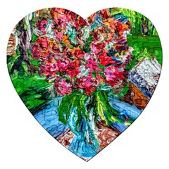 Paint, Flowers And Book Jigsaw Puzzle (heart)