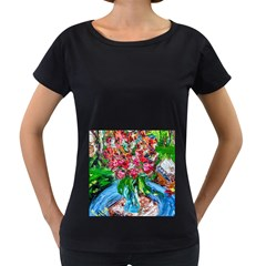 Paint, Flowers And Book Women s Loose Fit T Shirt (black)