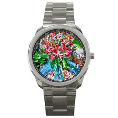 Paint, Flowers And Book Sport Metal Watch