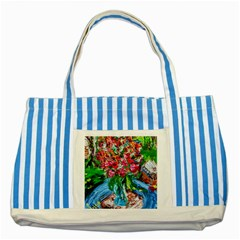 Paint, Flowers And Book Striped Blue Tote Bag