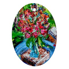 Paint, Flowers And Book Oval Ornament (two Sides)
