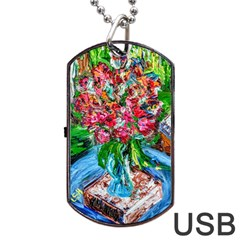 Paint, Flowers And Book Dog Tag Usb Flash (two Sides) by bestdesignintheworld