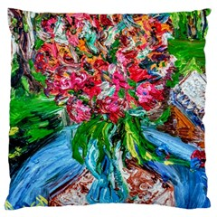 Paint, Flowers And Book Large Cushion Case (one Side)
