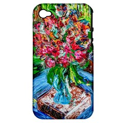 Paint, Flowers And Book Apple Iphone 4/4s Hardshell Case (pc+silicone)