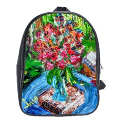 Paint, Flowers And Book School Bag (xl)