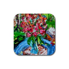 Paint, Flowers And Book Rubber Square Coaster (4 Pack)