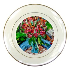Paint, Flowers And Book Porcelain Plates