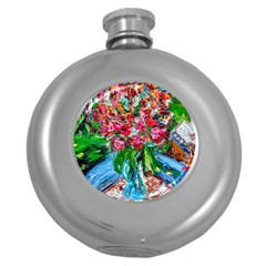 Paint, Flowers And Book Round Hip Flask (5 Oz)