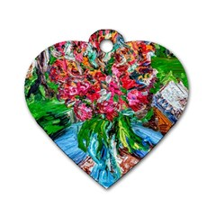 Paint, Flowers And Book Dog Tag Heart (two Sides)