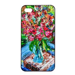 Paint, Flowers And Book Apple Iphone 4/4s Seamless Case (black)