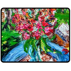 Paint, Flowers And Book Double Sided Fleece Blanket (medium)
