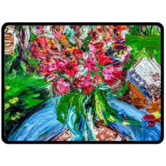 Paint, Flowers And Book Double Sided Fleece Blanket (large)