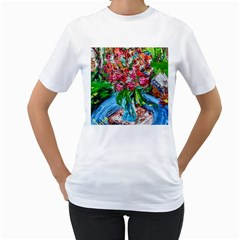 Paint, Flowers And Book Women s T Shirt (white)