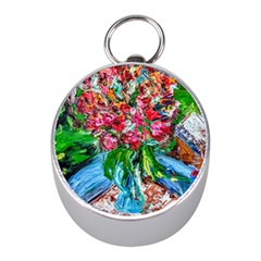 Paint, Flowers And Book Mini Silver Compasses