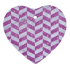 Chevron1 White Marble & Purple Glitter Ornament (heart)