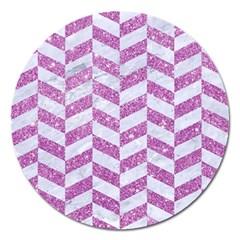 Chevron1 White Marble & Purple Glitter Magnet 5  (round)