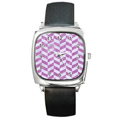 Chevron1 White Marble & Purple Glitter Square Metal Watch by trendistuff
