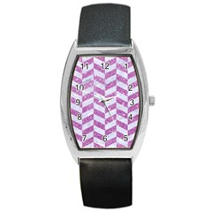 Chevron1 White Marble & Purple Glitter Barrel Style Metal Watch