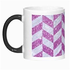 Chevron1 White Marble & Purple Glitter Morph Mugs