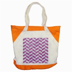 Chevron1 White Marble & Purple Glitter Accent Tote Bag