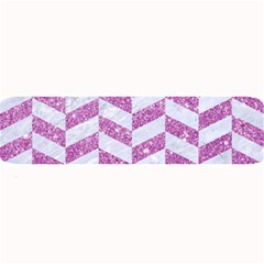 Chevron1 White Marble & Purple Glitter Large Bar Mats