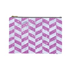 Chevron1 White Marble & Purple Glitter Cosmetic Bag (large)