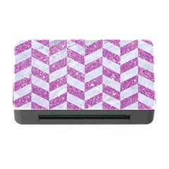 Chevron1 White Marble & Purple Glitter Memory Card Reader With Cf