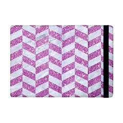 Chevron1 White Marble & Purple Glitter Apple Ipad Mini Flip Case