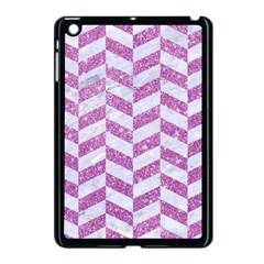 Chevron1 White Marble & Purple Glitter Apple Ipad Mini Case (black)