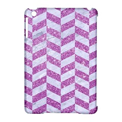 Chevron1 White Marble & Purple Glitter Apple Ipad Mini Hardshell Case (compatible With Smart Cover) by trendistuff