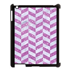 Chevron1 White Marble & Purple Glitter Apple Ipad 3/4 Case (black)