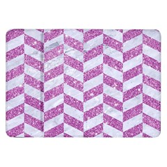 Chevron1 White Marble & Purple Glitter Samsung Galaxy Tab 8 9  P7300 Flip Case
