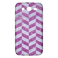 Chevron1 White Marble & Purple Glitter Samsung Galaxy Mega 5 8 I9152 Hardshell Case  by trendistuff