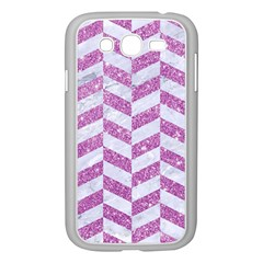 Chevron1 White Marble & Purple Glitter Samsung Galaxy Grand Duos I9082 Case (white)